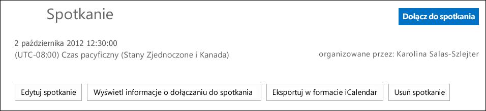 Zrzut ekranu: pole spotkania z opcją wyeksportowania jako iCalendar