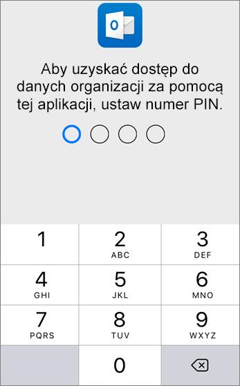 Ustaw numer PIN, aby uzyskać dostęp do danych organizacji