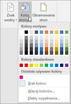Wyświetlone opcje Kolor strony