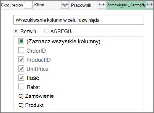Rozwijanie linku do tabeli Order_Details