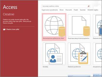 Ekran powitalny programu Access z polem wyszukiwania szablonów oraz przyciskami Niestandardowa aplikacja sieci Web i Pusta baza danych dla komputerów stacjonarnych