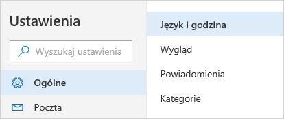 Zrzut ekranu przedstawiający menu Ustawienia czasu i języka