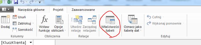 Wstążka w oknie programu PowerPivot z wyświetlonym poleceniem Właściwości tabeli