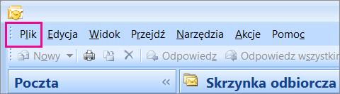 W programie Outlook 2007 wybierz kartę Plik.