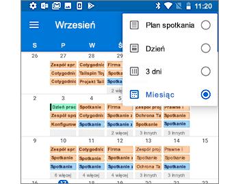 Kalendarz z pokazanym widokiem miesięcznym