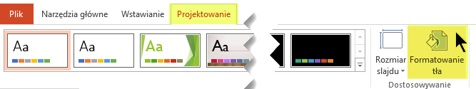 Przycisk Formatuj tło znajduje się na karcie Projektowanie na Wstążce w programie PowerPoint