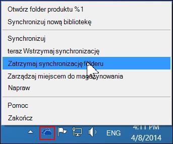 Polecenie Zatrzymaj synchronizację folderu w menu usługi OneDrive dla Firm