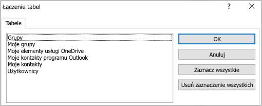 Lista wstępnie zdefiniowanych filtrów