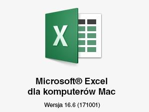 Logo programu Microsoft Excel dla komputerów Mac z pokazaną wersją 16.6