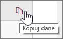 Kliknij ikonę danych Kopiuj, aby skopiować bieżące dane strony sieci web
