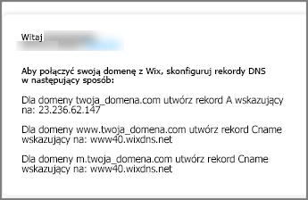 W witrynie Wix.com należy użyć tych ustawień rekordów DNS
