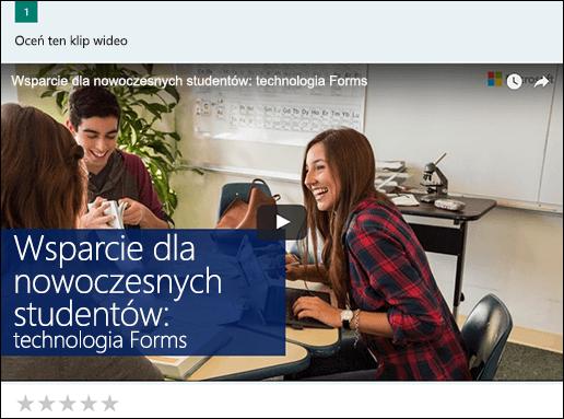 Wstawianie pola wideo YouTube dla programu Microsoft Forms
