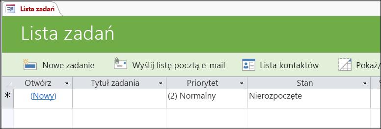 Formularz Lista zadań w szablonie bazy danych Zadania w programie Access