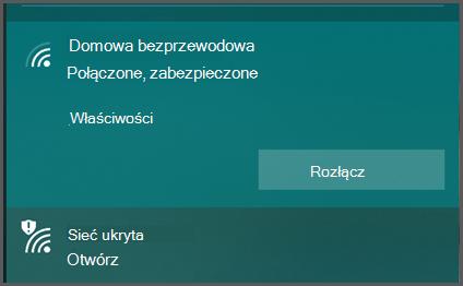 """System Windows 10 wyświetla listę sieci bezprzewodowych, zktórymi można nawiązać połączenie. Niektóre wyświetlane są jako """"zabezpieczone"""", inne natomiast jako """"niezabezpieczone""""."""