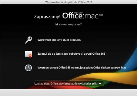Zrzut ekranu przedstawiający stronę powitalną pakietu Office 2011 dla komputerów Mac