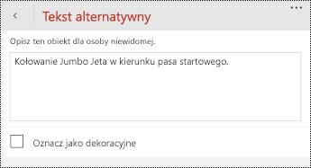 Okno dialogowe tekst alternatywny dla obrazów w aplikacji PowerPoint dla telefonów z systemem Windows.