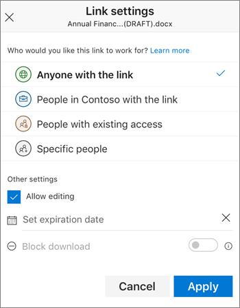 Opcje udostępniania linku do usługi OneDrive dla firm w aplikacji mobilnej iOS