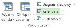 Karta Widok, grupa Widoki zadań, przycisk Kalendarz.