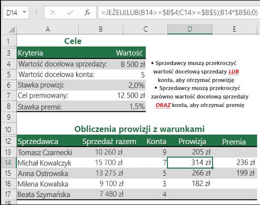 Przykład użycia funkcji JEŻELI i LUB w celu obliczenia prowizji od sprzedaży.