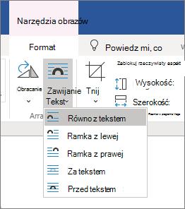 Opcje zawijania tekstu