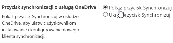 Ustawienia administracyjne przycisku synchronizacji usługi OneDrive