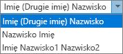 Opcje programu Outlook dla osób opcjami listy kolejności imię i nazwisko.