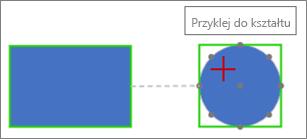 Łączenie z kształtem docelowym przy użyciu połączenia dynamicznego
