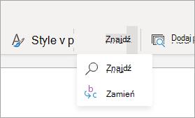 Wstążka uproszczona Znajdź menu rozwijane.