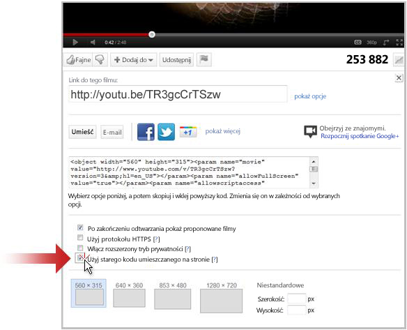 Tworzenie łącza do klipu wideo w witrynie YouTube