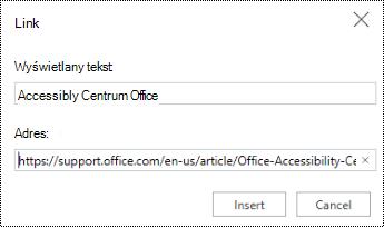 Okno dialogowe hiperlink w aplikacji PowerPoint Online.