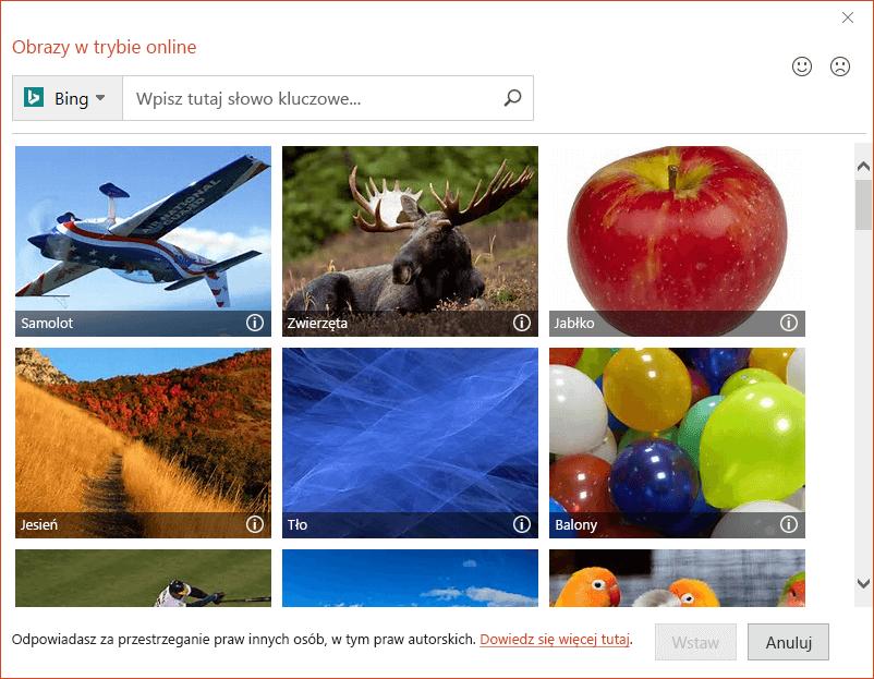 Okno dialogowe Obrazy online w pakiecie Office 2016