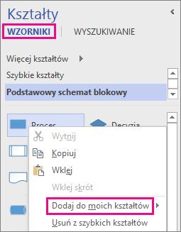 Kliknij prawym przyciskiem myszy kształt w widoku wzornika, aby dodać go do folderu Moje kształty.