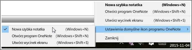 Zrzut ekranu przedstawiający fragment paska zadań z opcjami programu OneNote.