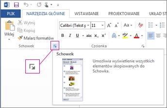 Otwieranie Schowka pakietu Office w programie Word 2013