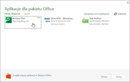 Zrzut ekranu: strona Office fpr aplikacje w sekcji Moje aplikacje, gdzie możesz uzyskać dostęp do i zarządzać swoimi aplikacjami programu Project.