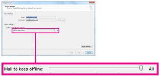 Suwak zmiany ilości poczty przechowywanej w trybie offline