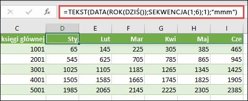 Użyj funkcji SEKWENCJA z funkcjami takimi jak TEKST, DATA, ROK i DZIŚ, aby stworzyć dynamiczną listę miesięcy dla wiersza nagłówka.
