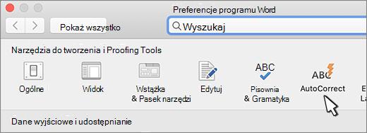 Przycisk Autokorekta programu Word dla komputerów Mac