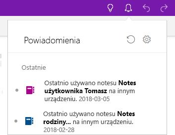 Okienko Powiadomienia z dwoma notesami, które otwarto na innym urządzeniu.
