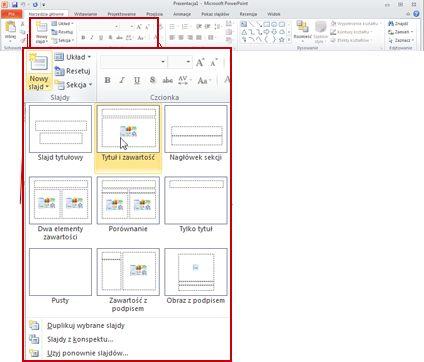 Grupa Slajdy na karcie Narzędzia główne w programie PowerPoint 2010