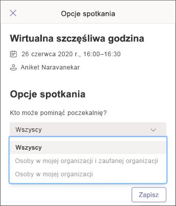 Opcje spotkania — zrzut ekranu z telefonem komórkowym