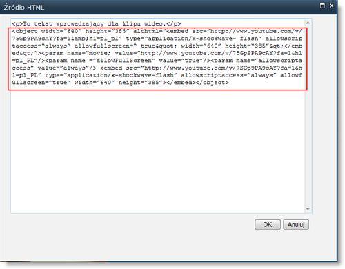 Edytor źródła HTML dla składnika Web Part edytora zawartości z kodem osadzania klipu wideo