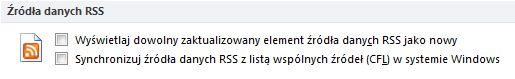 Pole wyboru Synchronizuj źródła danych RSS z listą wspólnych źródeł