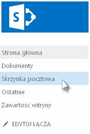 Pozycja Skrzynka pocztowa na pasku Szybkie uruchamianie