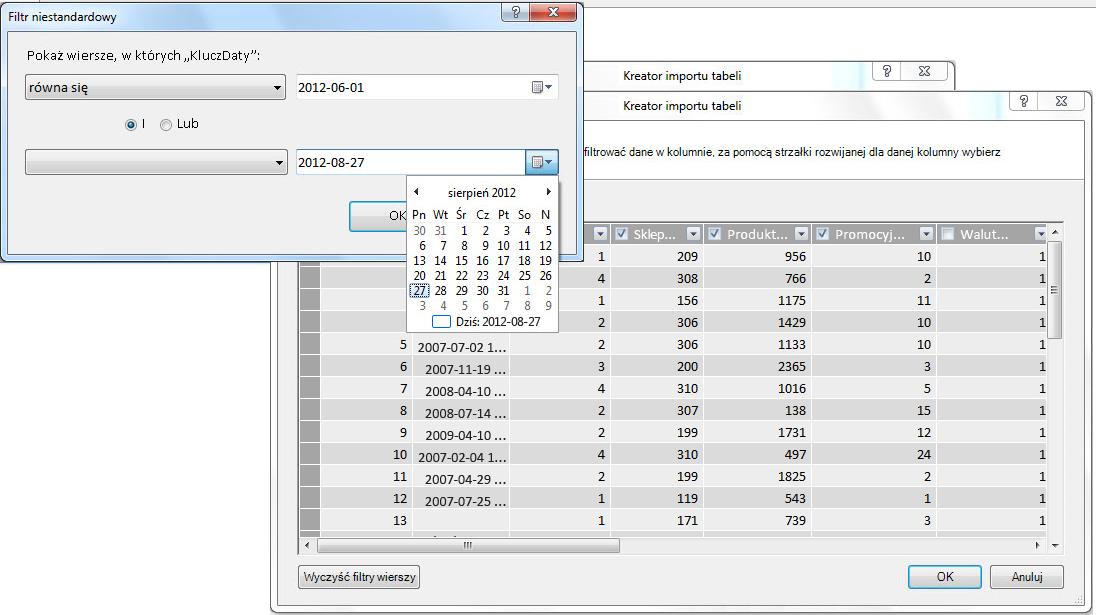 Okienko filtrowania w Kreatorze importu tabel