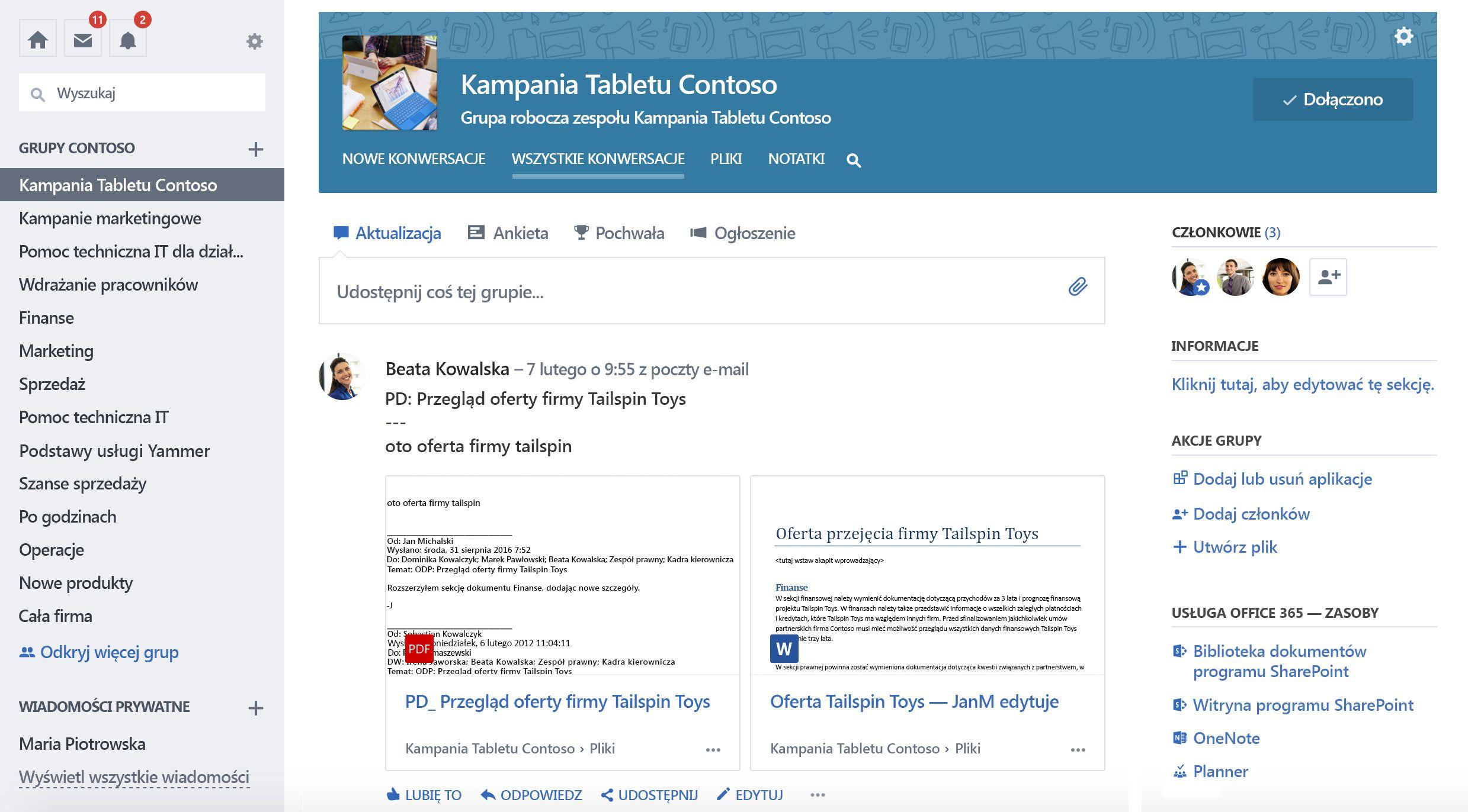 Zrzut ekranu usługi Office 365 połączony konwersacje grupowe usługi Yammer