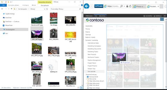 Zrzut ekranu programu SharePoint i Eksploratora Windows ustawionych obok siebie przy użyciu klawisza Windows i klawiszy strzałek.