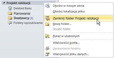 Polecenie Zamknij plik danych programu Outlook (pst)