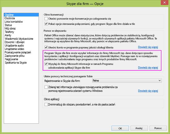 Pole wyboru dotyczące zbierania danych przez program Skype dla firm w oknie dialogowym Opcje > Ogólne