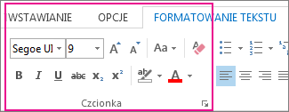 Wstążka Formatowanie tekstu